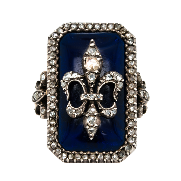 Nineteenth century French blue glass and diamond fleur de lys ring - image 1