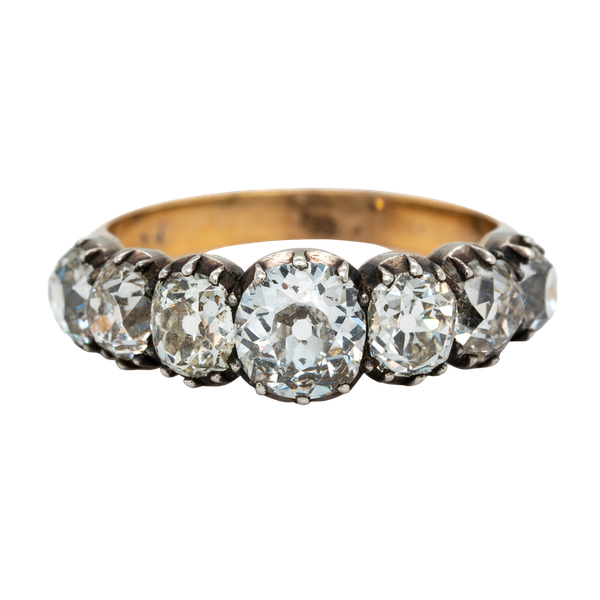 Early Victorian seven stone diamond ring - image 1