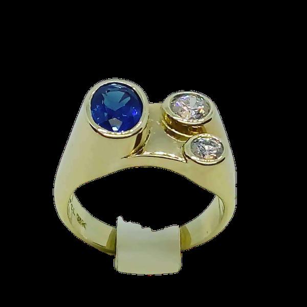 70'S Sapphire and Diamond Ring - image 1