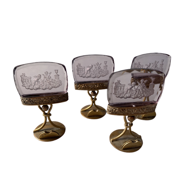 1900's Austrian Bronze & Glass Menu Holders, SHAPIRO & Co - image 1