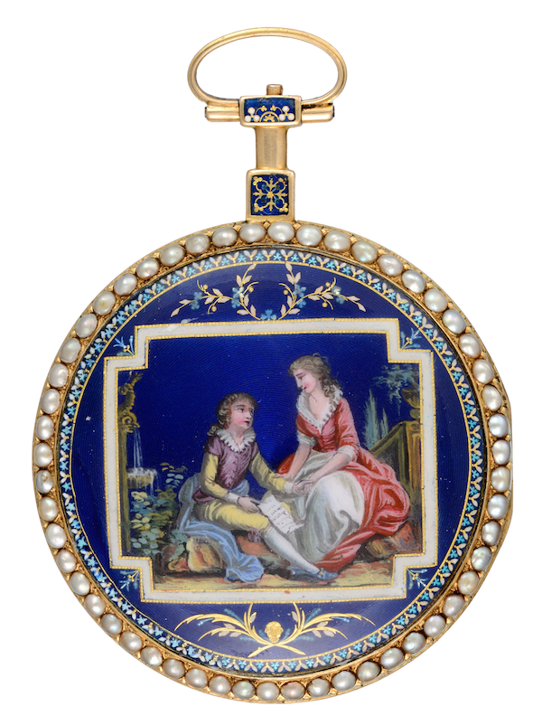 PEARL SET GOLD AND ENAMEL WATCH - image 1