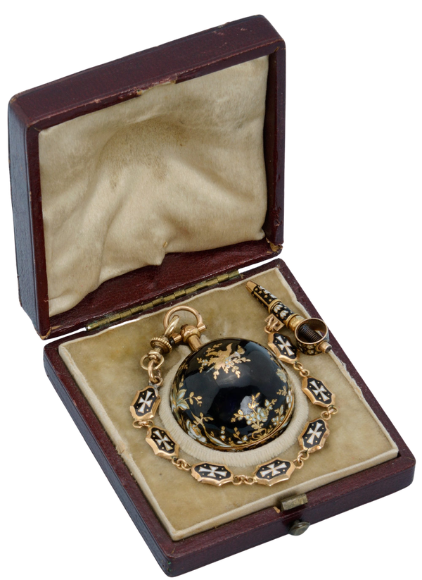 GOLD AND ENAMEL VERGE BALL WATCH AND CHAIN - image 1