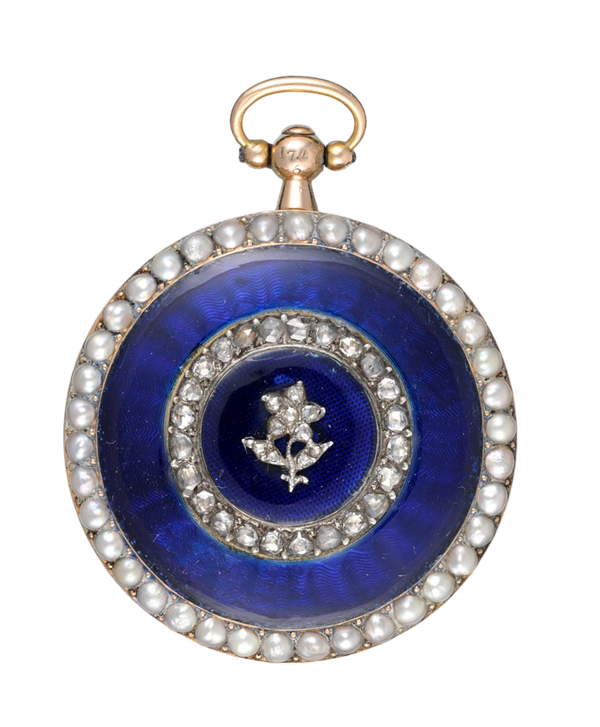 DIAMOND AND PEARL SET ENAMEL HALF HUNTER - image 1