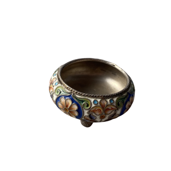 Moscow 1896-1907, Russian Silver Enamel Salt by Pavel Ovchinichov, SHAPIRO & Co - image 1
