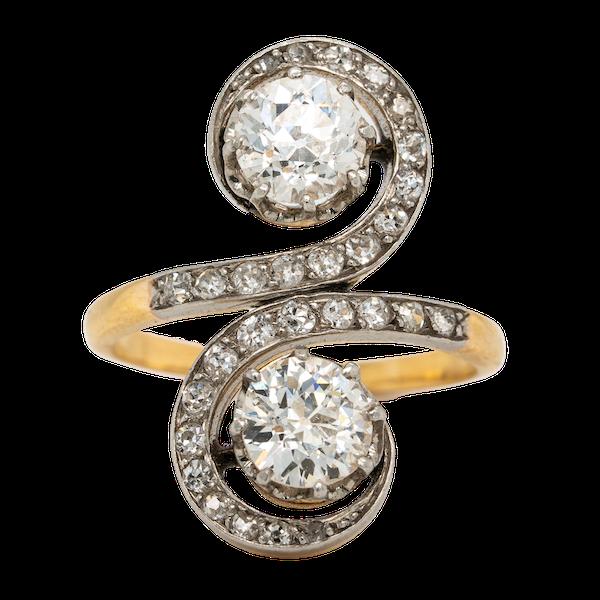 Edwardian Toi et Moi diamond ring - image 1