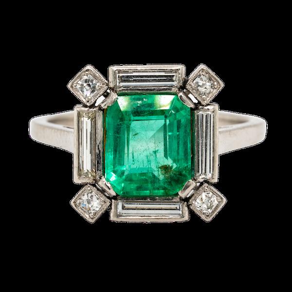 Art Deco emerald and diamond ring - image 1