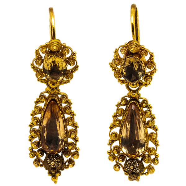Georgian topaz canetille drop earrings - image 1