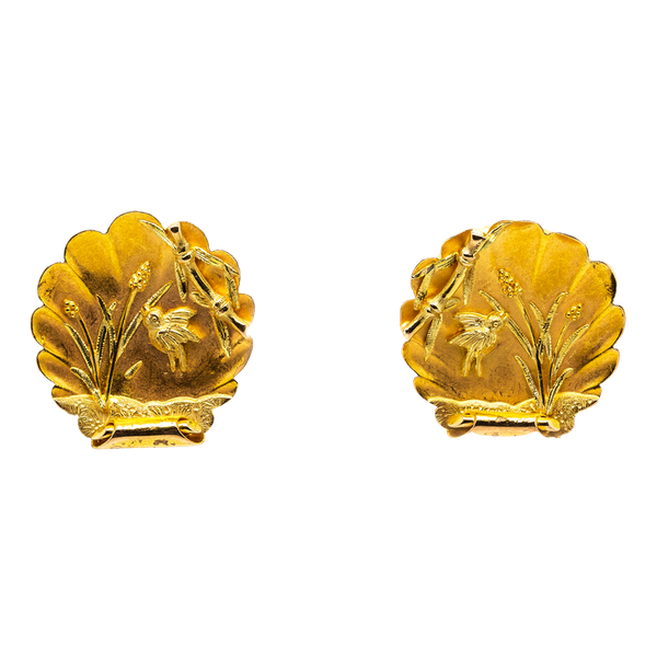 Victorian fine gold Japanesque earrings - image 1