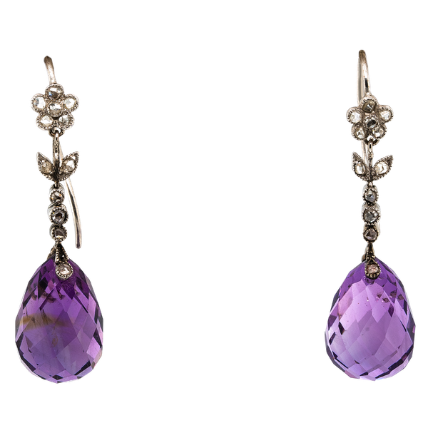 Edwardian amethyst and diamond earrings - image 1
