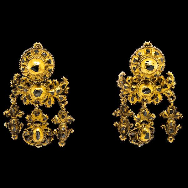 Iberian 18th century girandole diamond earrings - image 1