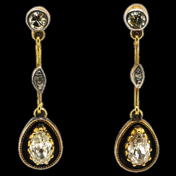 Victorian enamel diamond drop earrings - image 1