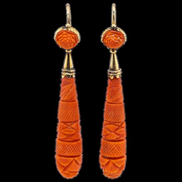 Georgian carved coral drop earrings - image 1