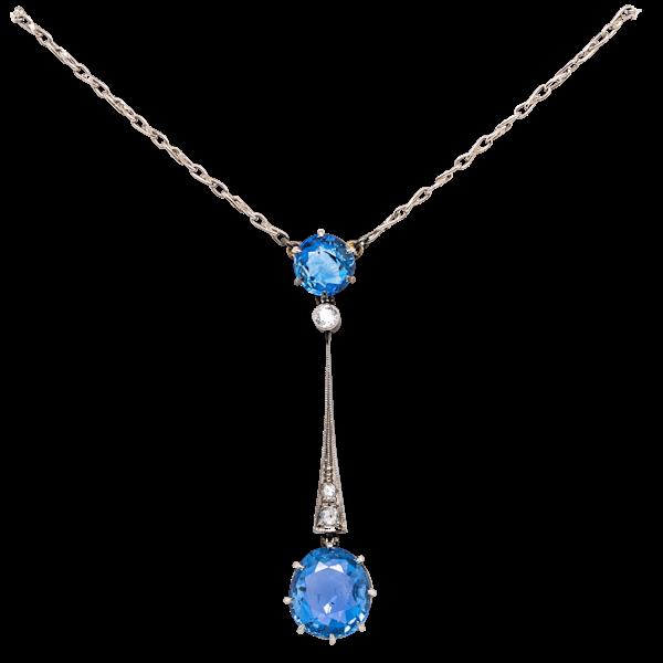 Edwardian Liberty sapphire diamond pendant - image 1
