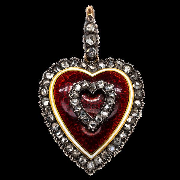 Victorian enamel diamond heart pendant - image 1