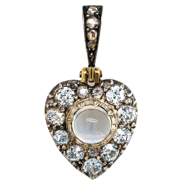 Moonstone diamond heart pendant - image 1