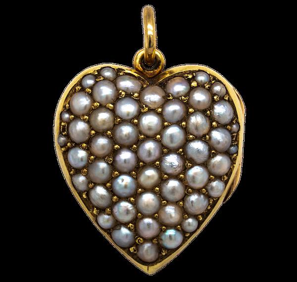 Victorian pearl heart locket pendant - image 1