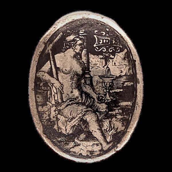 Renaissance niello silver plaque - image 1