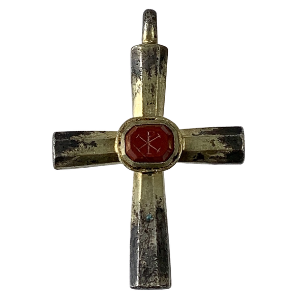 Byzantine silver cross with jasper intaglio - image 1
