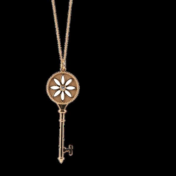 Date 2010's, Tiffany & Co 18ct Yellow Gold and Diamond Daisy Key Pendant,,,,,,, SHAPIRO & Co - image 8
