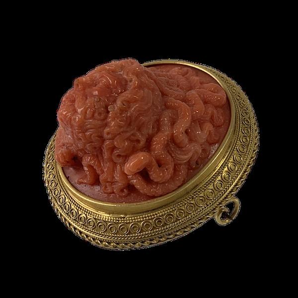 Coral cameo brooch - image 1