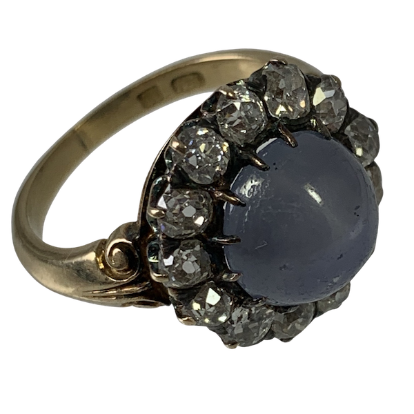 Star sapphire ring with diamonds - image 1