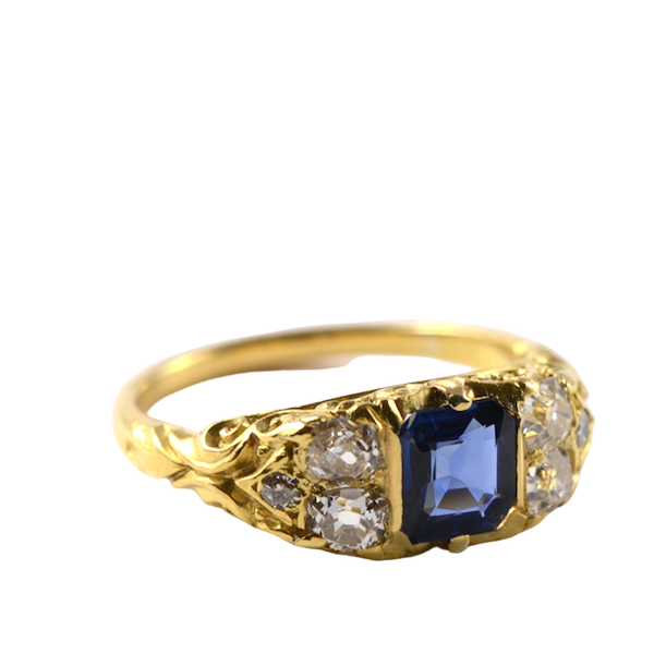 Sapphire Ring in 18ct Gold set with Diamonds date circa1900 SHAPIRO & Co since1979 - image 1