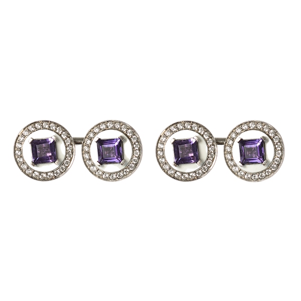 Vintage Cufflinks in White 18 Carat Gold with Amethyst Centre & Diamonds, English circa 1950. - image 1