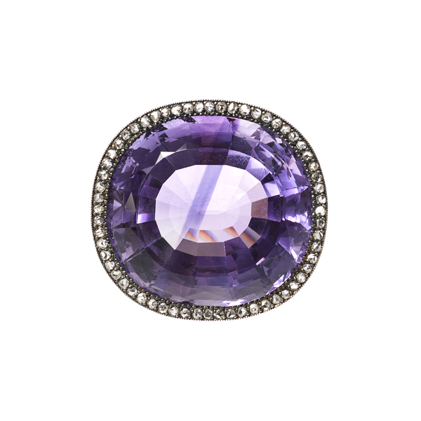 Victorian Amethyst Brooch with Diamond Surround, English circa 1890. - image 1
