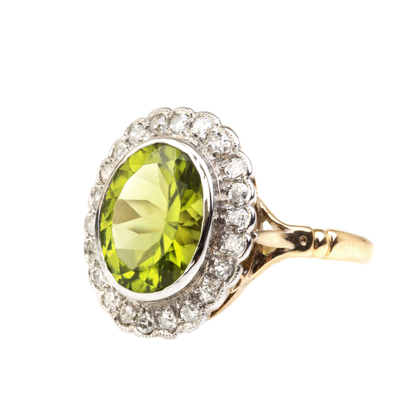 A Peridot and Diamond Ring - image 1