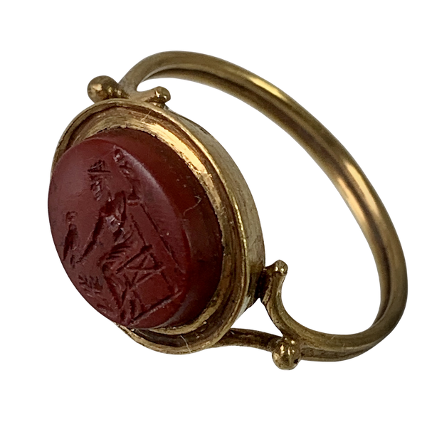 Ancient Roman intaglio in 1800 gold ring - image 1