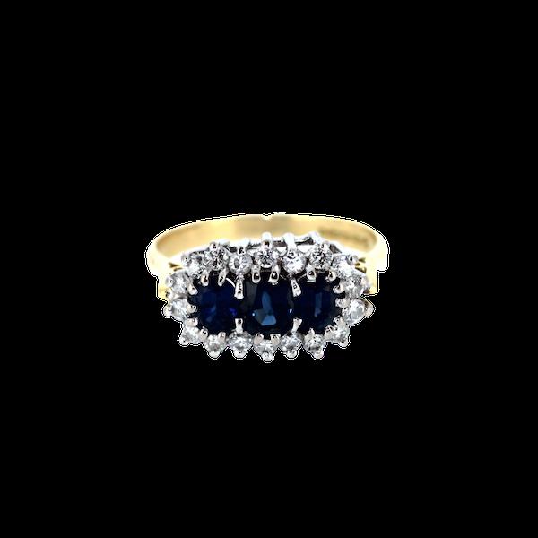 Three Stone Sapphire Cluster Ring. S.Greenstein - image 1
