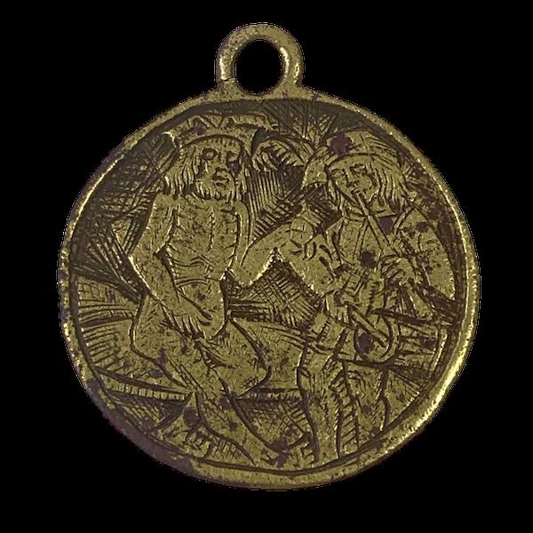 Fourteenth century engraved brass pendant - image 1