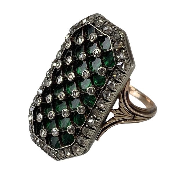 1780 enamelled gold ring with diamonds - image 1