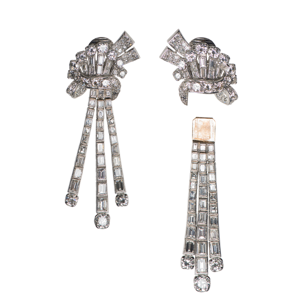 Vintage Day & Night Diamond Pendant Earrings in Platinum, English circa 1940. - image 1