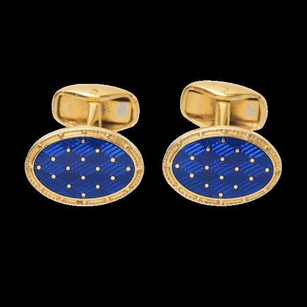 Paul Longmire Vintage Cufflinks 18 Karat Gold and Blue Enamel, Italian circa 1990. - image 1