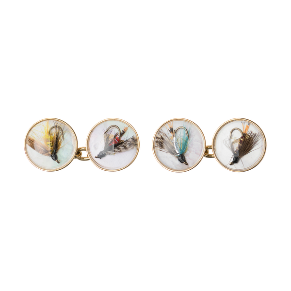 Vintage Crystal Cufflinks of Trout Flies on Mother of Pearl and Gold, English made 1997. - image 1