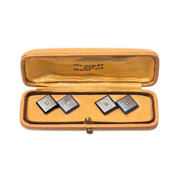 Antique Square Cufflinks in Platinum with Diamonds, Onyx and Lapis Lazuli, Austrian circa 1920. - image 1