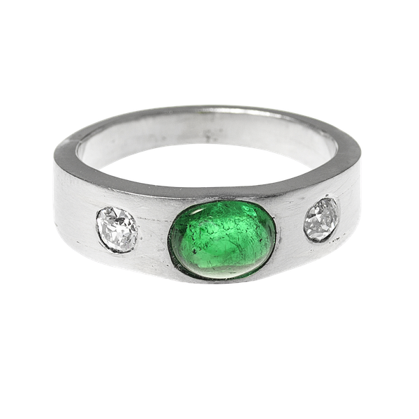 Vintage Platinum Ring with Colombian Emerald and Old Brilliant Cut Diamonds, English circa 1990. - image 1