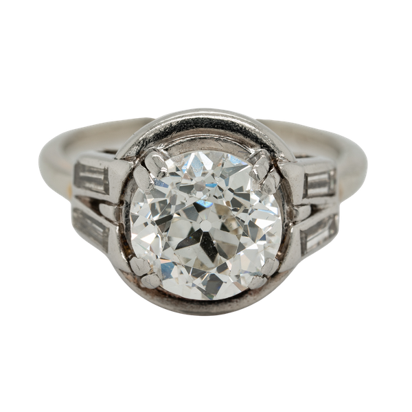 Diamond Art Deco solitaire ring in platinum - image 1