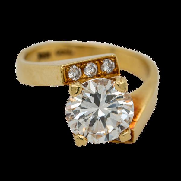 1970s diamond solitaire ring . Principal diamond 2.36 ct - image 1