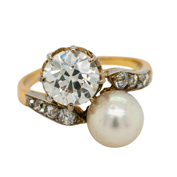 Pearl and diamond crossover  ring - image 1