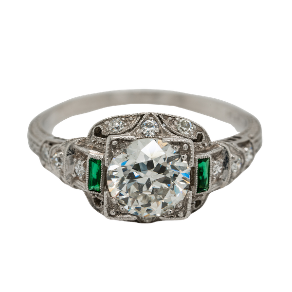 Art Deco diamond and emerald shoulders cluster ring - image 1