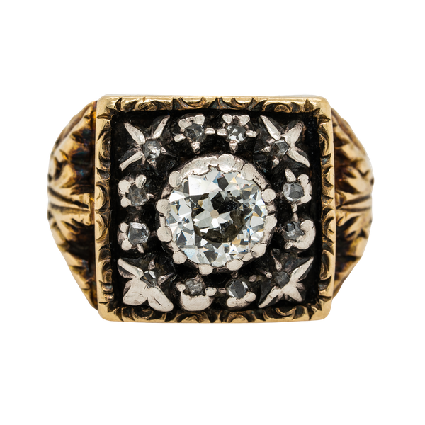 Antique diamond  gents/ladies signet ring - image 1