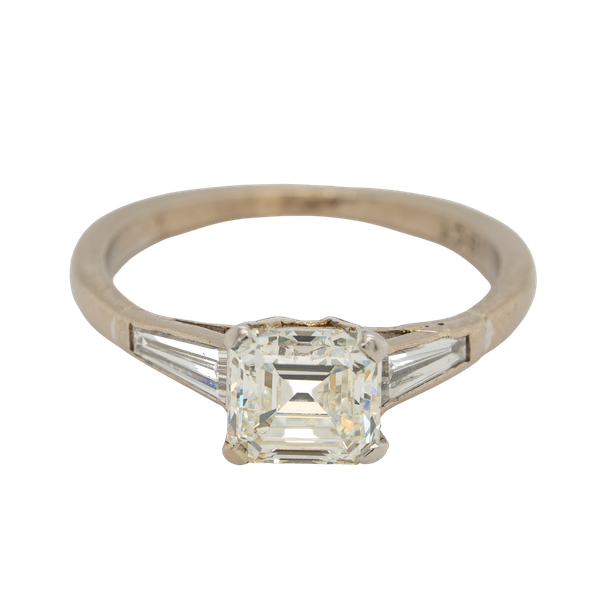 Diamond asscher cut solitaire ring with tapered  baguette shoulders - image 1