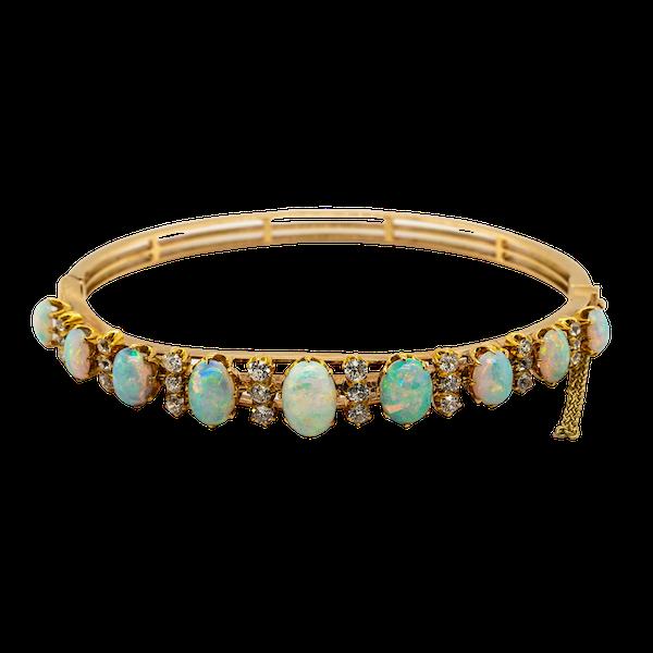 Opal and diamond bangle - image 1
