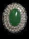 18K white gold 4.96ct Natural Jade and 2.45ct Diamond Ring - image 1