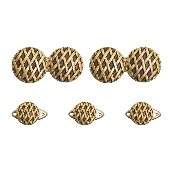 Antique Cufflinks & Studs in 18 Karat Gold with Criss Cross Design and inset Enamel, French circa 1890. - image 1