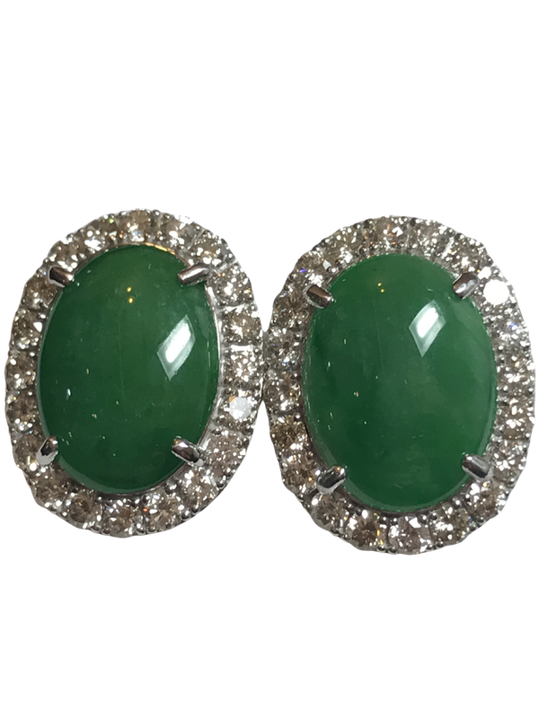 18K white gold 9.91ct Natural Jade and 2.10ct Diamond Earrings - image 1
