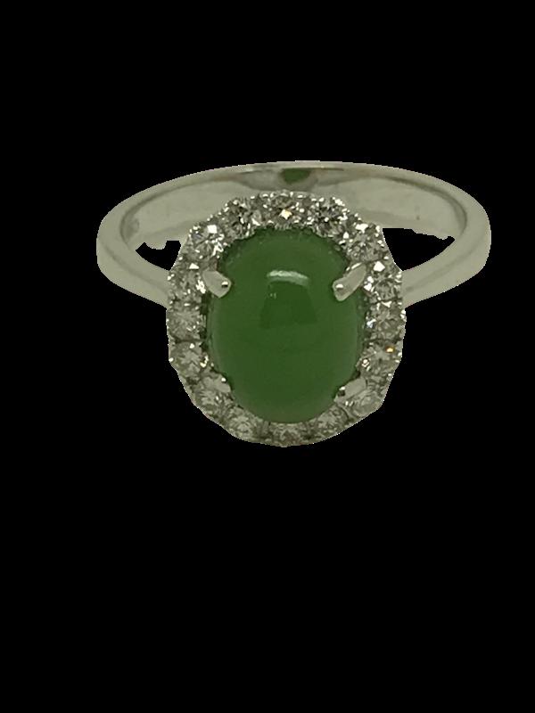 18K white gold 2.13ct Natural Jade and 0.40ct Diamond Ring - image 1