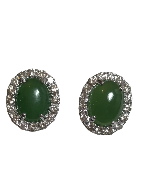 18K white gold 3.66ct Natural Jade and 0.81ct Diamond Earrings - image 1